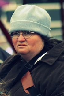 blue hat lady
